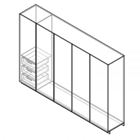 Closet of 5 doors and 3 drawers-3D x ray